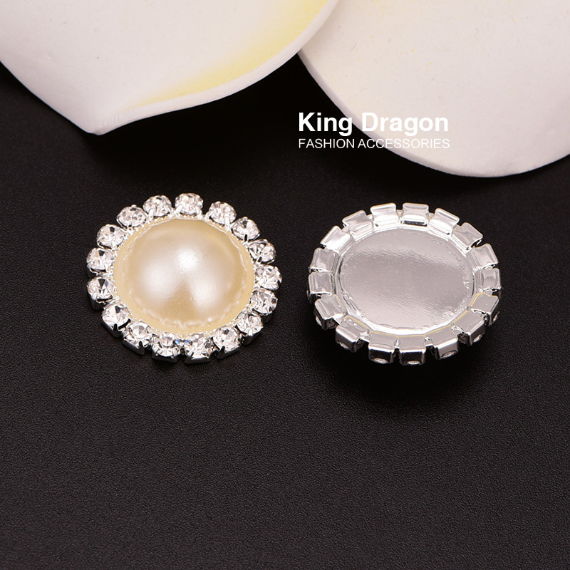Rhinestone Bling Buttons Used On Invitation Card 20MM Silver Color Flat Back DIY Buttons 100pcs/lot