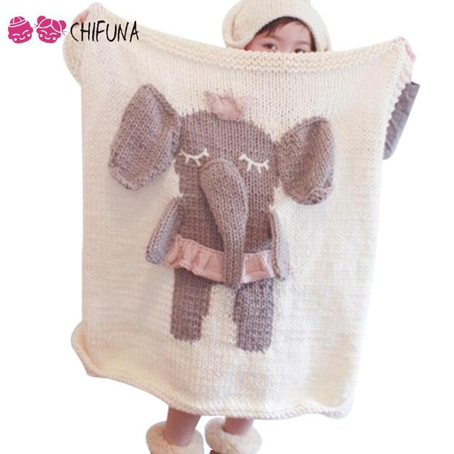 New! Baby Receiving Blanket Cute Animal Pattern Knitted Blanket Children Throw Blanket Sofa Bed Blanket