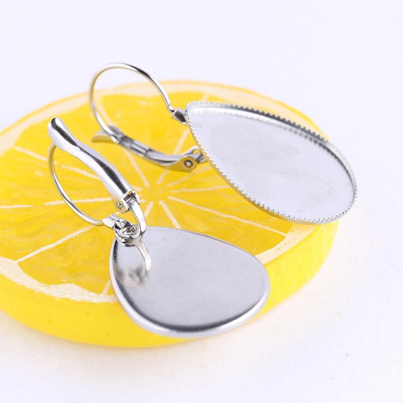 Onwear 5pairs Stainless Steel Fit 18x25mm Teardrop Glass Cabochon Lever Back Earring Base Findings Diy Blank Bezel Settings