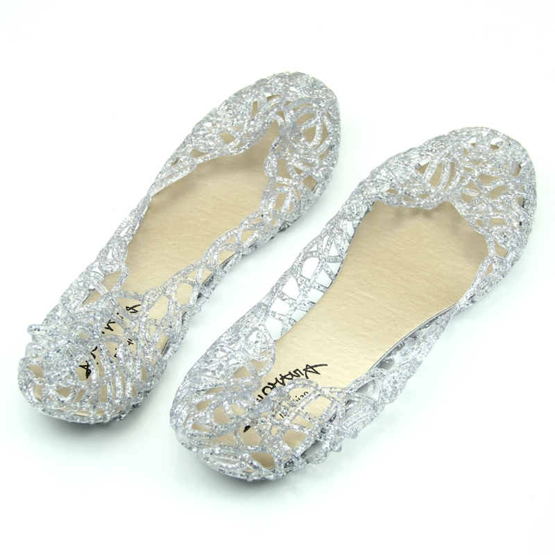 2018 New Summer Beach Shoes Ventilate Crystal Jelly Hollow Out Birds Nest Flat Sandal