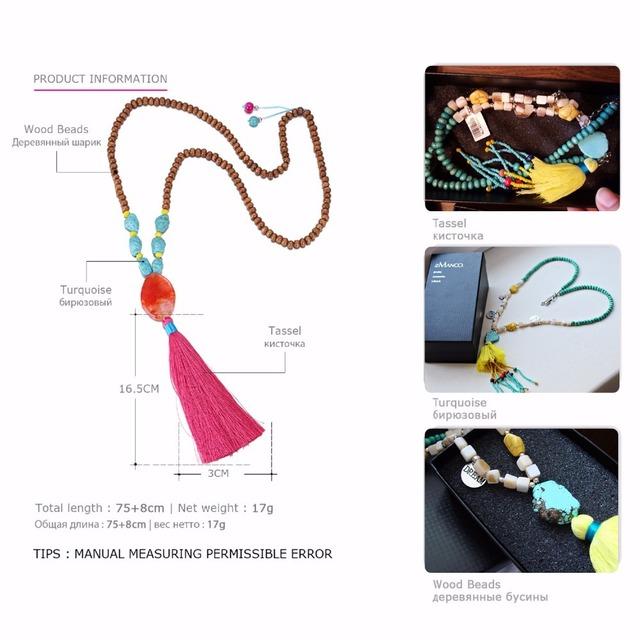 Color Ethnic Bohemia Tassel Statement Necklaces & Pendants