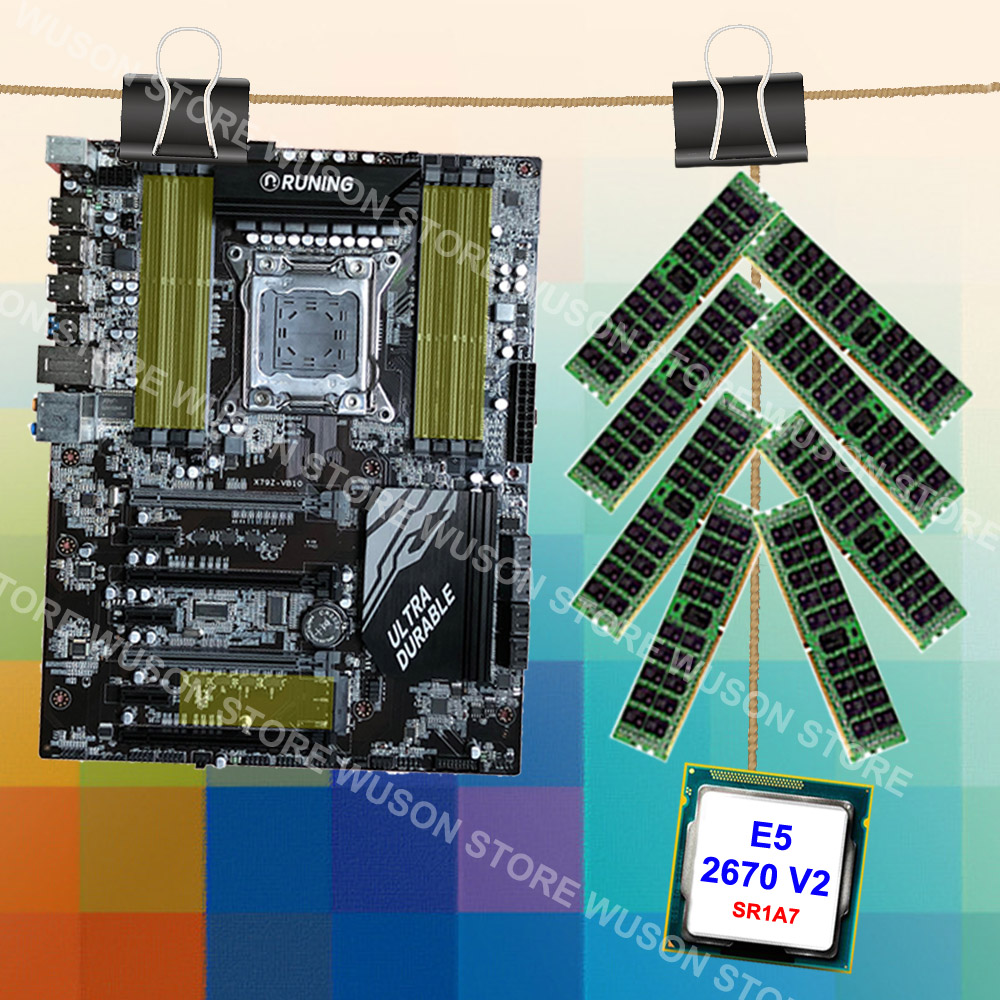 Featured Runing Super X79 gaming motherboard set processor good <font><b>Intel</b></font> Xeon <font><b>E5</b></font> <font><b>2670</b></font> <font><b>V2</b></font> SR1A7 RAM 128G(8*16G) 1866MHz REG ECC image