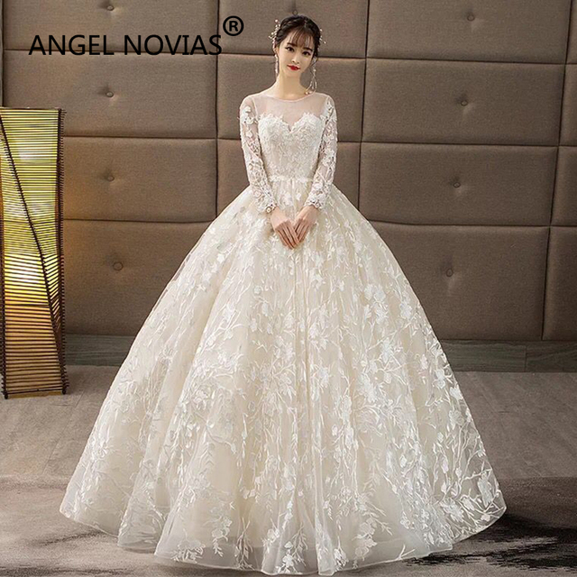 Angel Novias Long Sleeves Princess Lace Ball Gown Arabic Korea