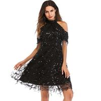 Fashion stand neck Female evening Sequin Dress Summer High Quality voile Tassel Sexy Party Dresses big Size casual New Arrivals