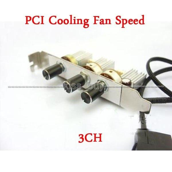 Dc 12 v PC 3 Canais 3 Pinos pinos PCI Suporte Desligar Ventilador Controlador de Velocidade Do Ventilador de Refrigeração