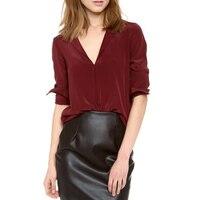 Nowoczesne damski V-neck Sweter Koszula Szyfon Góry Wino Czerwony Jednolity Kolor Szyfonowa Bluzka