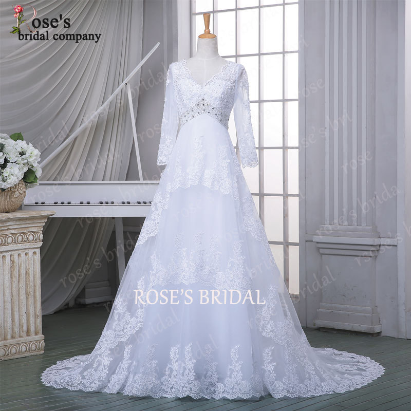 2016 Real Photos Long Sleeve White Lace Vintage Cheap Wedding Dresses With Lo