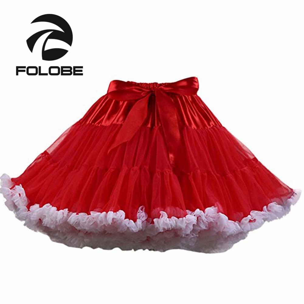 FOLOBE Ballet Dancewear Tulle Vintage Tutu Sukně Dámské Mini Lolita Kostýmní Sukně faldas de tull Mujer Saias Jupe TT004