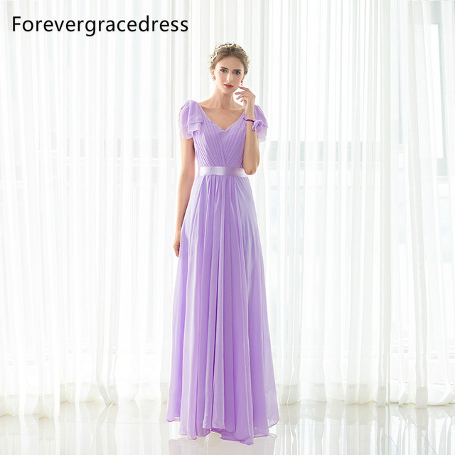 US $83.2 35% OFF|Forevergracedress Lavender Bridesmaid Dress New Arrival  Long Chiffon Lace Up Back Wedding Party Gown Plus Size Custom Made -in ...