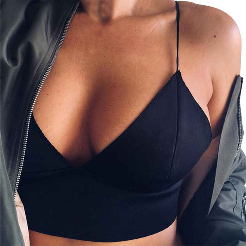 Hirigin Women Lady Un Padded Bra Tops Black Color Bustier Vest Crop Bralette Lingerie Short Tank