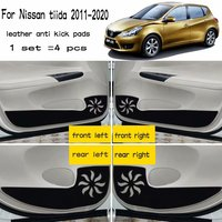 4pcs Leather Car Styling Anti Kick Pad Anti dity Door Mat For Nissan Tiida C12 2011 2012 2013 2014 2015 2016 2017 2019 2020