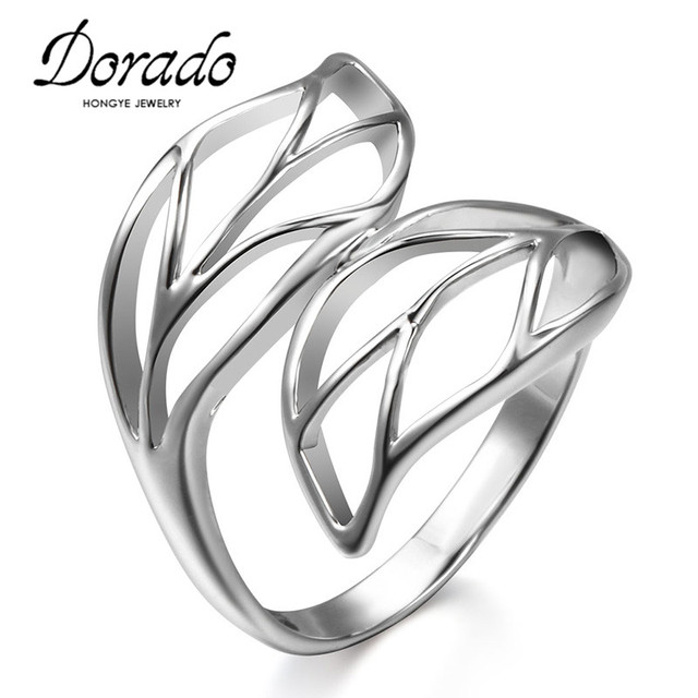 dorado hollow out double leaf shape silver color finger rings Wreath Ring dorado hollow out double leaf shape silver color finger rings wedding party jewelry fashion rings for women