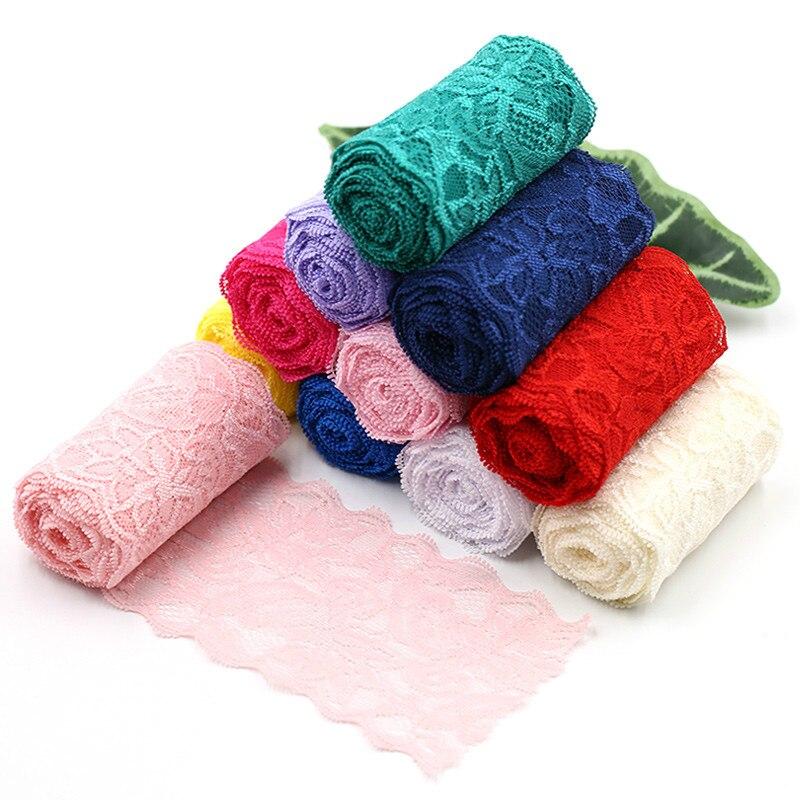Fita de costura elástica de renda de spandex, 8cm, preta, branca, elástica, laço, tecido de tricô, acessórios de vestuário, diy