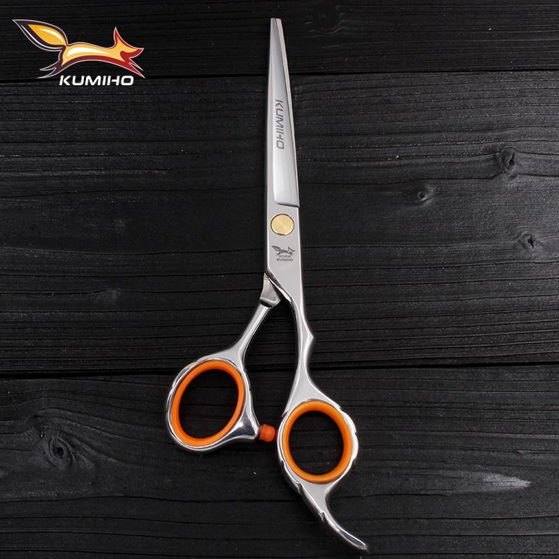 KUMIHO משלוח חינם מספריים חיתוך שיער עם מיקרו משונן הלהב חם שיער מספריים המראה מלוטשת שיער גזירה 6 אינץ '