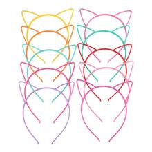 Children Girls Cute Cartoon Pointed Cat Ears Headband Sweet Candy Color Hollow Out Plastic Hair Hoop Anti-Skid Teeth(China)