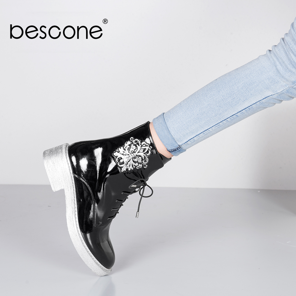 BESCONE Embroider Ankle Boots Lace up Black Patent Leather Genuine Leather Shoes Round Toe Square Heels