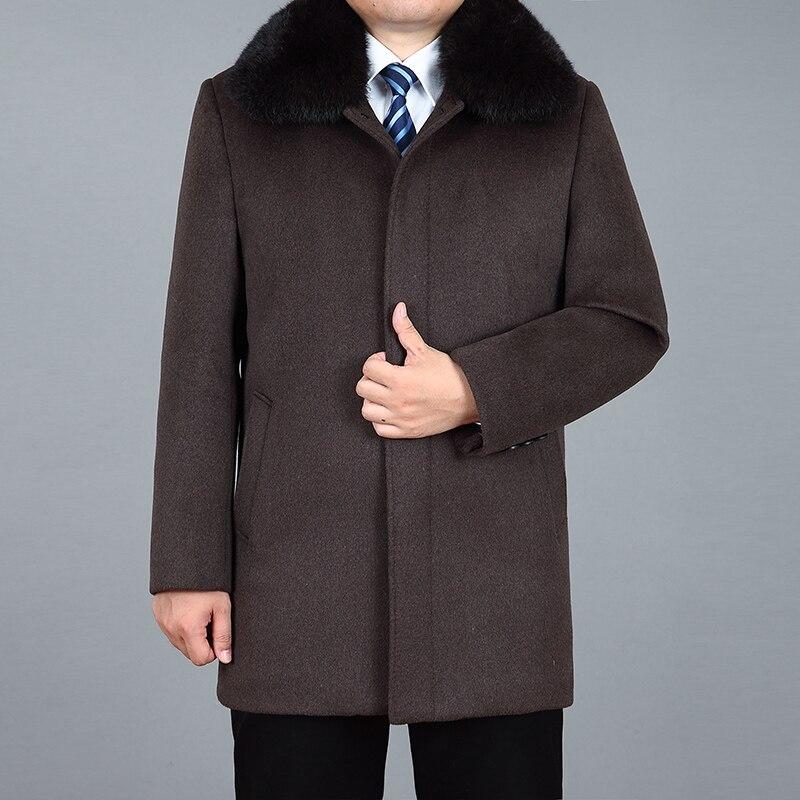 2020 High Quality Men Wool Coat Winter Thick Warm Woolen Coat Real Rabbit Fur Autumn Wool Coats Winter Jackets Merino Wool Men