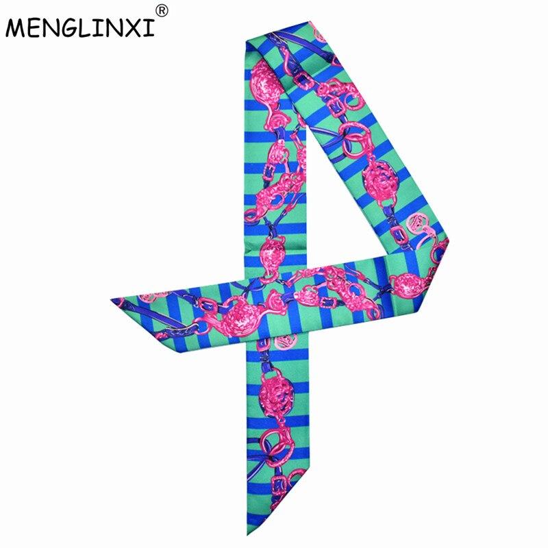Sporting 2019 Neue Mode Schal Striped Kette Druck Krawatte Frauen Silk Schal Kopf Schal Marke Griff Tasche Bänder Kleine Lange Schals Bekleidung Zubehör