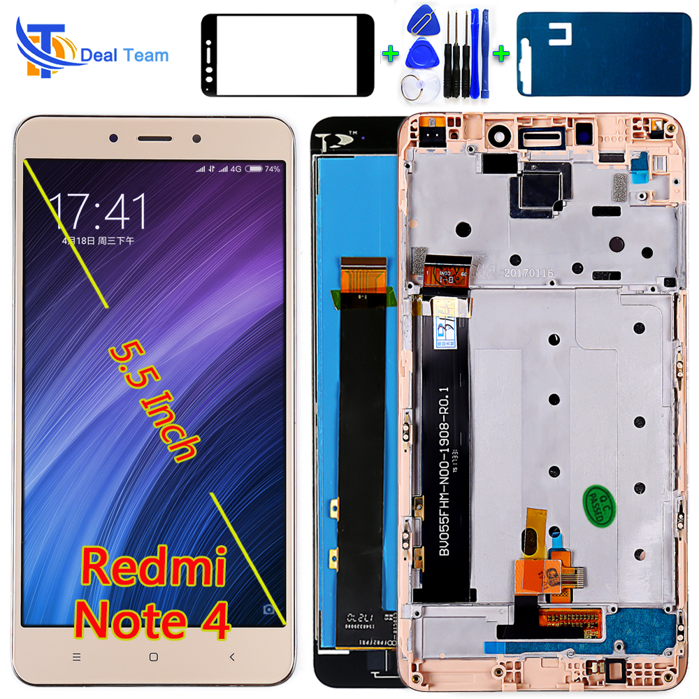 Deal Team 5.5 Inch LCD Display For Xiaomi Redmi Note 4 (CPU: MTK Helio X20) Touch Screen Digitizer Assembly Frame With Free Tool