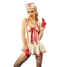 Sexy Women Nurse Costume 7 Pieces Suit Positive Open Lace-up Uniform Erotic Role Play Lingerie Female Sexy Red Cross  Underwear