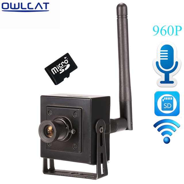 OWLCAT Small Mini Indoor Wireless IP Camera Wifi HD 960p Microphone Audio Talk SD Card Onvif P2P Support Android iPhone View ptz wifi 1080p ip camera outdoor onvif wireless 2mp bullet with audio camera micro sd card in optional android iphone view