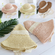 Women Retro Sun Hats Summer Brim Beach Travel Straw Hats Lady Lace Ribbon  Tie Bow Sun Wire Chic Hats Cap Beach Sun Hats ee75b116e710