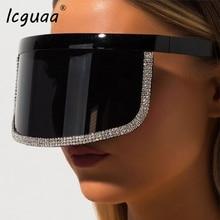 Fashion Crystal Oversize Shield Visor Sunglasses Women 2019