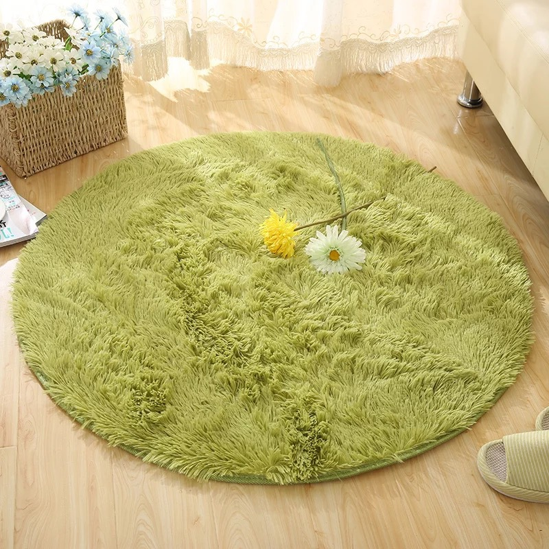 Home & Garden Wholesale 10 Colors Solid Long Shaggy Fluffy Round Carpets For Living Room Circle Yoga Mat Computer Floor Mat Cushions Rugs 80cm
