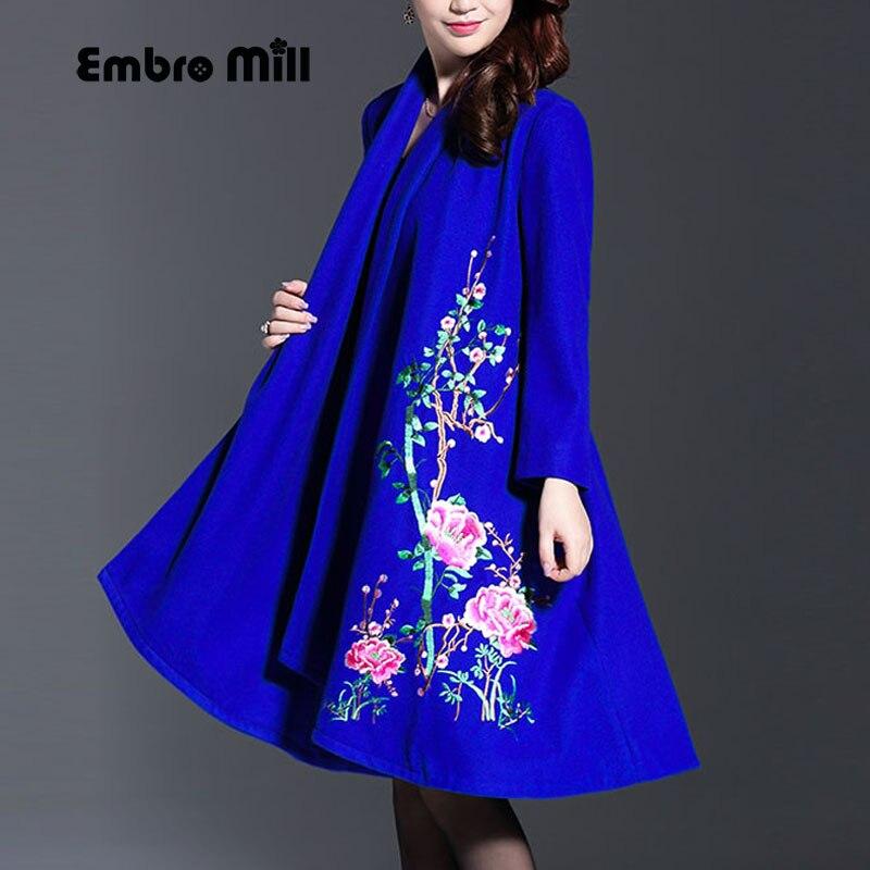 Vintage real bordado de invierno abrigos de lana mujer estilo chino pista dama elegante plus tamaño suelto abrigo M-4XL