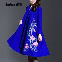 Vintage royal embroidery Winter wool coats woman Chinese style runway lady elegant plus size loose trench coat M 4XL