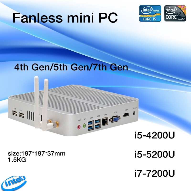 Linux/Windows 10 pc i5 4200U/5550U i5 5250U/5200U i5 7200U CPU Fanless htpc.3 Years Warranty Nuc HD620 Freeshipping-in Mini PC from Computer & Office