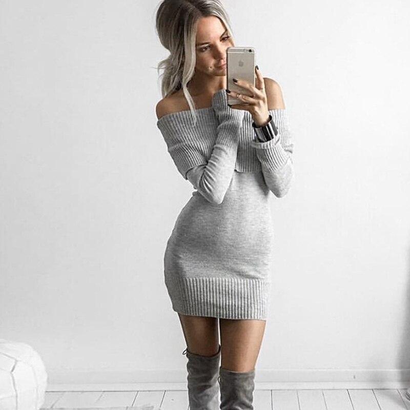 54fa6636d940 Sexy Knitted Dress Women Black Gray White Slash neck Slim Sweater Female  Midi Bandage Dresses vestidos de mujer jurken winter