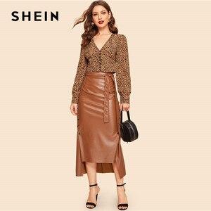 Image 3 - Shein marrom elegante divisão bainha frente duplo botão com cinto de couro olhar saia longa senhora do escritório sólido workwear maxi saias