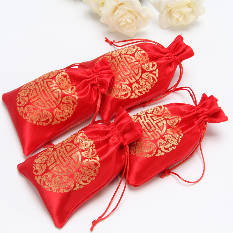 Image 2 - China Embroider Silk Stain Jewelry Gift Pouch 10x13cm(4x5inch) 
