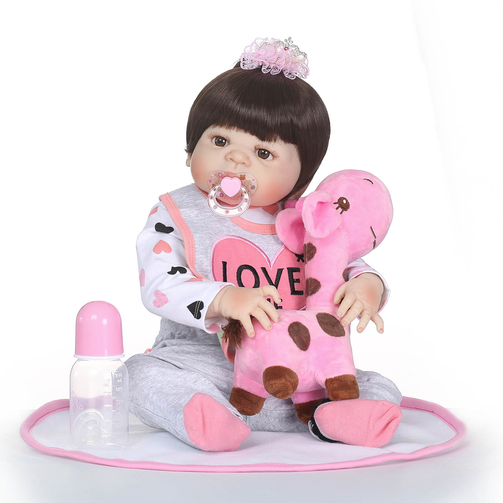 NPK brand real silicone reborn baby girl dolls with pink giraffe doll toys for child  gift bebe boneca reborn silicone completaNPK brand real silicone reborn baby girl dolls with pink giraffe doll toys for child  gift bebe boneca reborn silicone completa