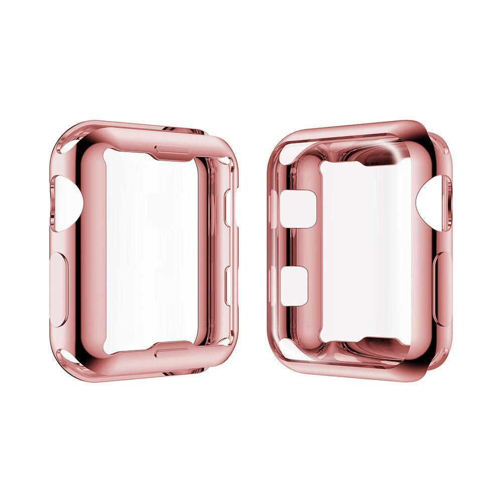 38mm 42mm Pink Gold Full Protective TPU Case for Apple Watch Bands iWatch Series 2 3 Plating TPU Cover Watch Protector Cases стоимость