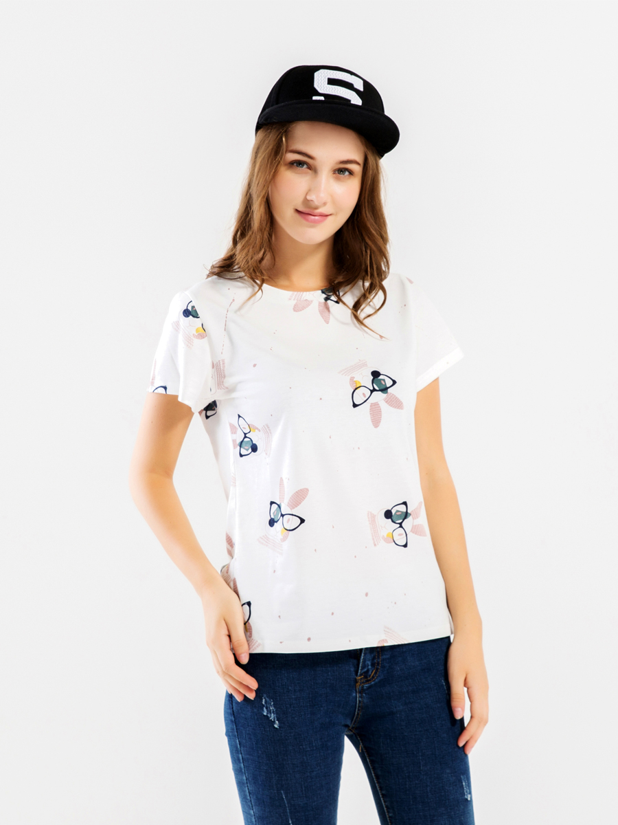 Kawaii Cute Rabbit Print Cotton Women's T Shirts Short Sleeve O-Neck Summer T-Shirt Harajuku Top 2019 Cotton T-Shirt For Lady