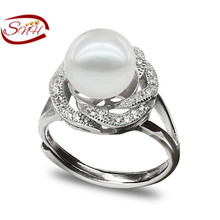 925 stering  ring cultural freshwater actual pearl ring  , Free Delivery pearl adjustable ring jewellery for girls wedding ceremony ring