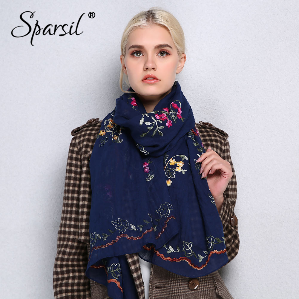 Sparsil Spring Cotton Linen Scarf Women Shawls High Quality Embroidery Traveling Scarves Thin Soft Big Hijab Female Scarf Wraps