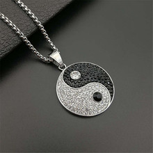 Yin Yang Tai Chi Pendants Necklaces for Men Silver Color Round Stainless Steel Paved CZ Crystal Ice Out Hip Hop Rapper Jewelry