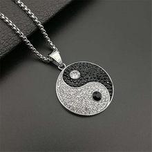 Yin Yang Tai Chi – colliers avec pendentifs pour hommes, couleur argent, rond en acier inoxydable, pavé de cristal, glace, Hip Hop rappeur, bijoux