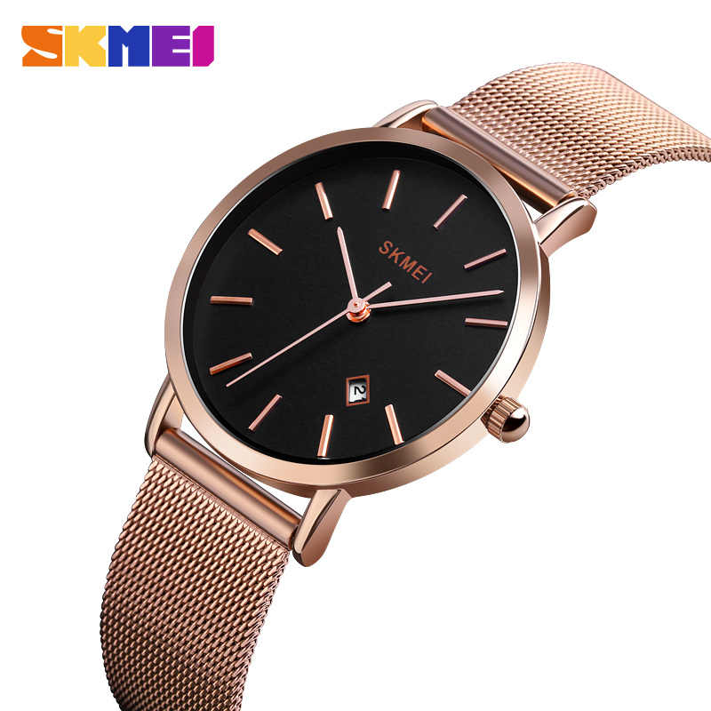 SKMEI Fashion Women Watch Casual Quartz Wristwatches Simple Style 3bar Waterproof Stainless Steel Watchband reloj mujer 1530