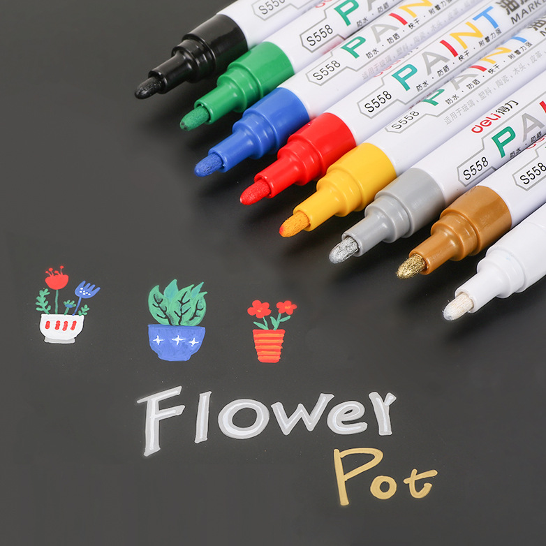 8pcs/lot Metallic marker pen glass metal wood rubber stone plastic paper  vinyl leather canvas Fine Point Paint Oil Based Marker-in Art Markers from  Office ...