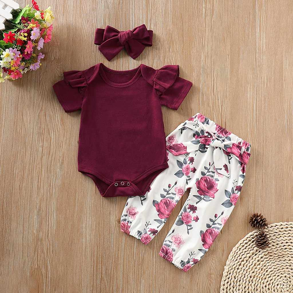 Carter Baby Girl summer clothes Set Short Sleeves Romper Tops+Floral Pants+Headbands Cute baby Outfits ropa recien nacido