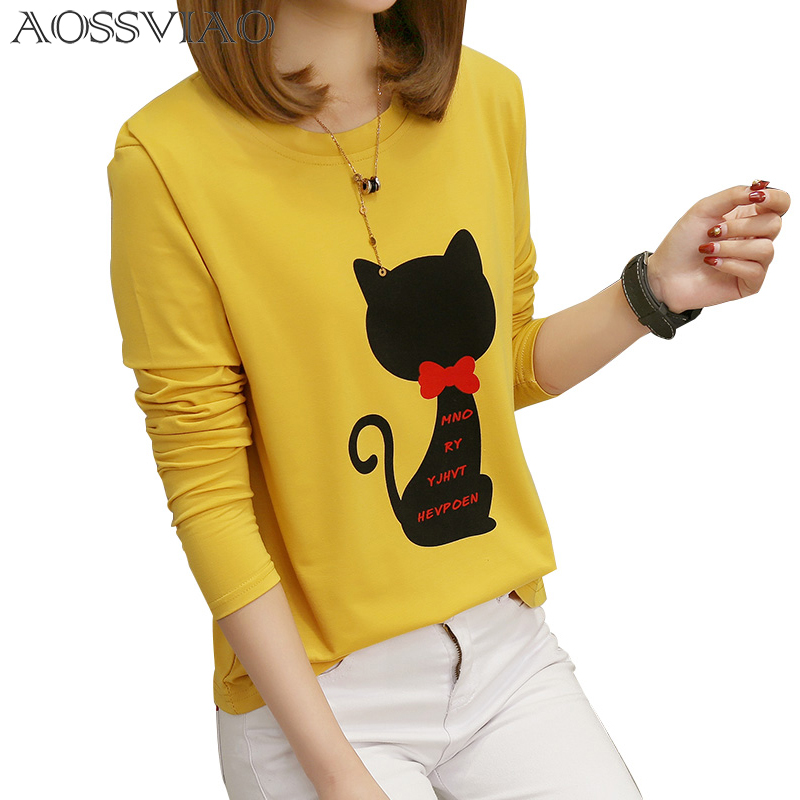Print Animal T Shirt Women Autumn And Winter T-Shirt Long Sleeve Loose Plus Size Tshirt Womens Tee Shirt Femme Poleras Mujer