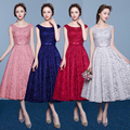 customed new tea length lace prom  dress 2017 plus size slim tank bridesmaid dress maternity gown formal dress 8 colors