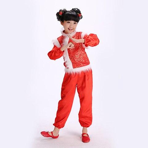 Chinese Folk Dance Clothing Yangko Dance  Costume New Year Christmas Dance Costume For Kids