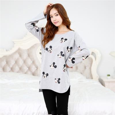 Pijama unicornio 2017 chegou novo sleepwear 100% algodão primavera verão pijamas mujer das mulheres da longo-luva pijamas pijamas 2 pcs