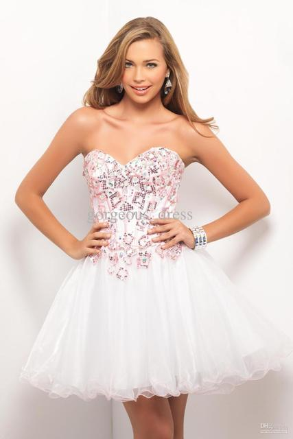 6de947b2ef70 Beautiful sweetheart A-line white prom dresses rhinestone sequin sexy short  homecoming dresses corset bodice sheer party gown dr