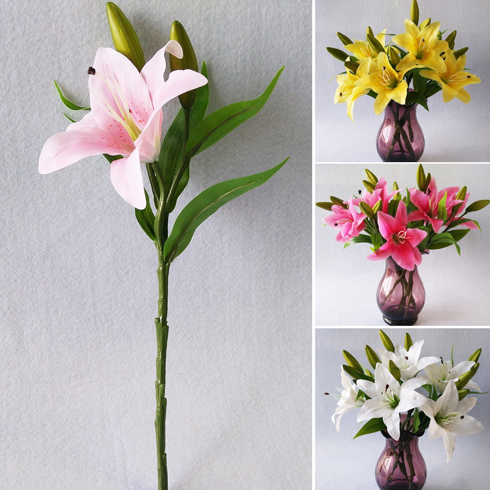 1white Lily Flower Bouquet Fake Flowers Bridal Wedding Decor Home